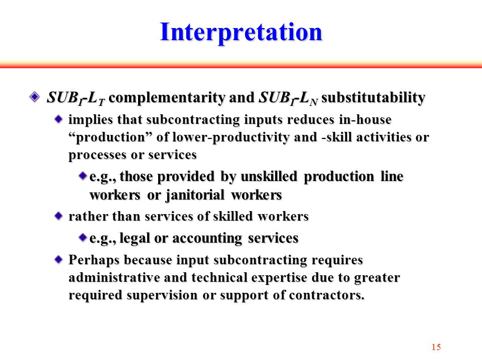 15 Interpretation SUB I -L T complementarity and SUB I -L N substitutability implies that subcontracting inputs reduces in-house production of lower-productivity and -skill activities or processes or services e.g., those provided by unskilled production line workers or janitorial workers rather than services of skilled workers e.g., legal or accounting services Perhaps because input subcontracting requires administrative and technical expertise due to greater required supervision or support of contractors.