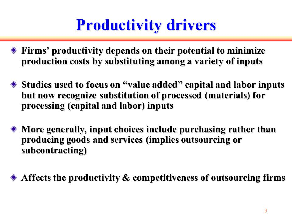 14 SUB I Results β SUBI is positive and significant (at 10%) positive first order productivity effect of SUB I β LT,SUBI is positive and significant (at 1%) a strong positive L T bias a higher share of subcontracted inputs implies greater administrative and technical (skilled) labor intensity β LN,SUBI is significantly negative (at 5%) more SUB I is associated with less use of unskilled labor SUB I substantively affects only the labor shares all other cross-effects are insignificant The positive SUB I output elasticity is driven entirely by the positive first-order and L T effects