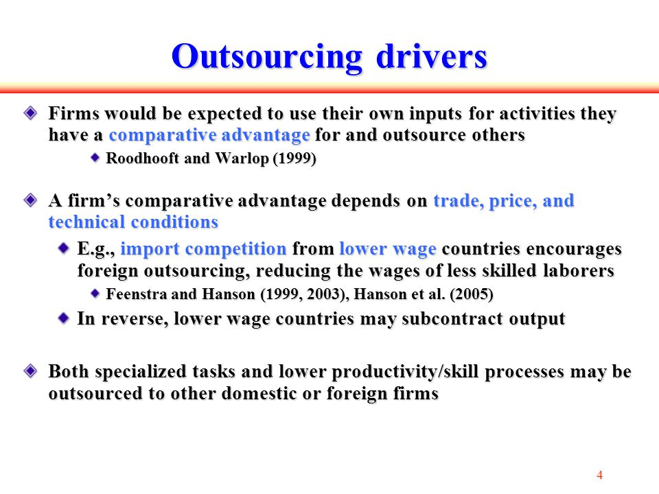 5 55 5 Our goal We explore how outsourcing or subcontracting is related to plant productivity and input composition/substitution from the perspective of a developing country We consider the productivity effects of: domestic outsourcing, through the share of inputs that are subcontracted receiving contracts, through the share of output that is subcontracted foreign outsourcing, through the share of imported intermediate inputs represented as production frontier shifts and twists from diff shares of subcontracted inputs/outputs or imported materials and find this aspect of input choice important to recognize