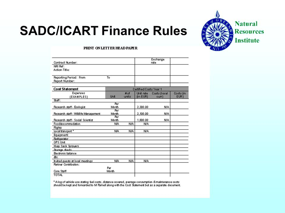 SADC/ICART Finance Rules