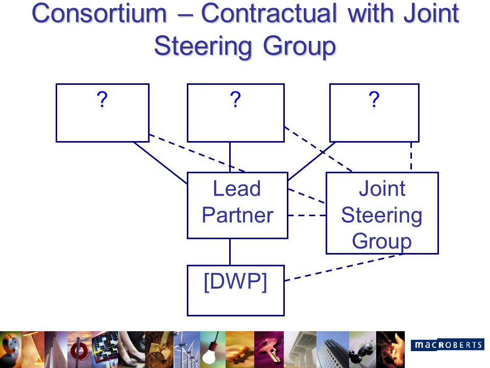Consortium – Contractual with Joint Steering Group ? [DWP] Lead Partner ?? Joint Steering Group