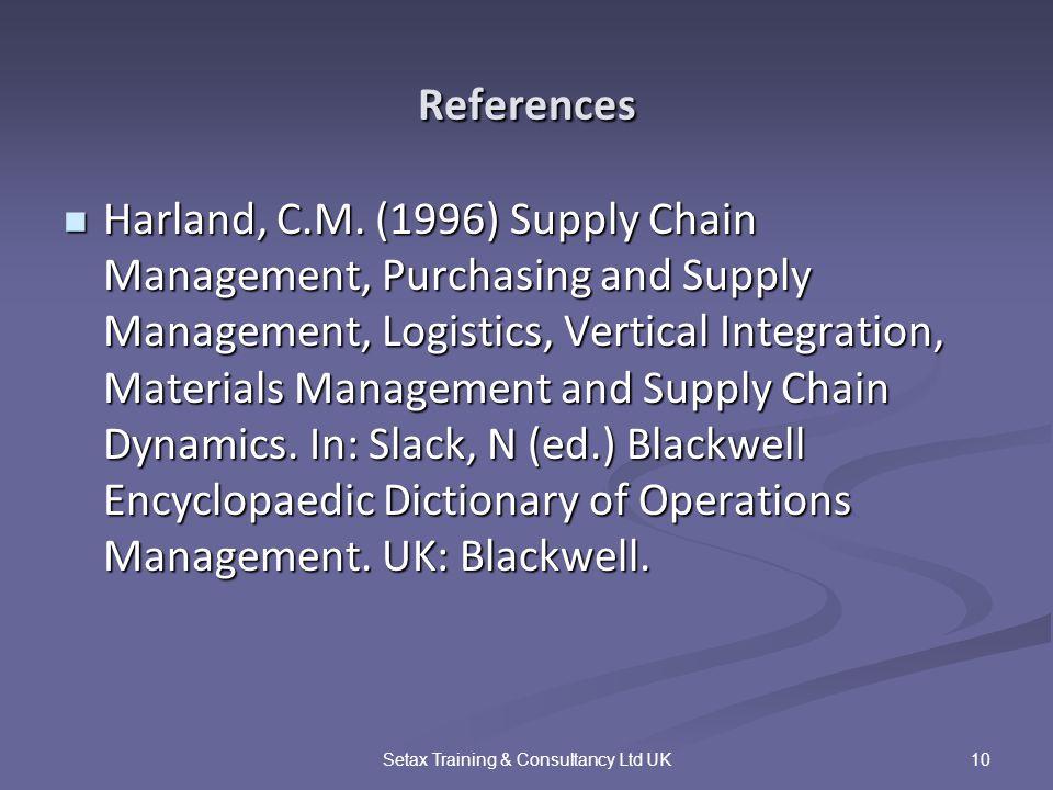 10Setax Training & Consultancy Ltd UK References Harland, C.M.