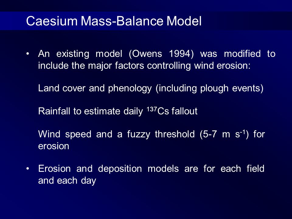 An existing model (Owens 1994) was modified to include the major factors controlling wind erosion: Erosion and deposition models are for each field and each day Land cover and phenology (including plough events) Rainfall to estimate daily 137 Cs fallout Wind speed and a fuzzy threshold (5-7 m s -1 ) for erosion Caesium Mass-Balance Model