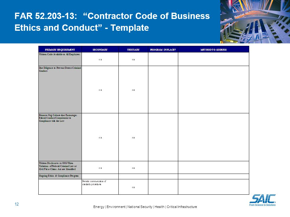 Energy | Environment | National Security | Health | Critical Infrastructure 12 FAR 52.203-13: Contractor Code of Business Ethics and Conduct - Template
