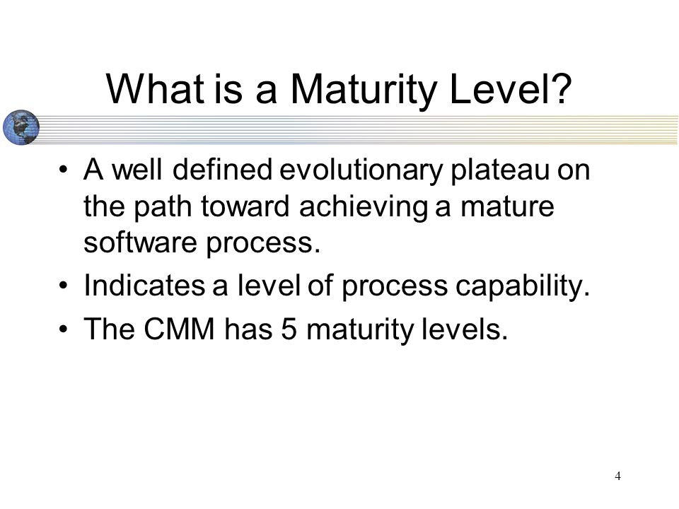 4 What is a Maturity Level.