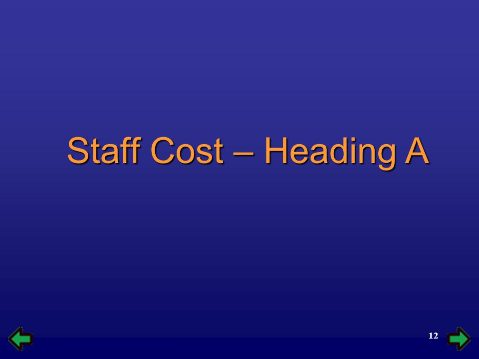 12 Staff Cost – Heading A