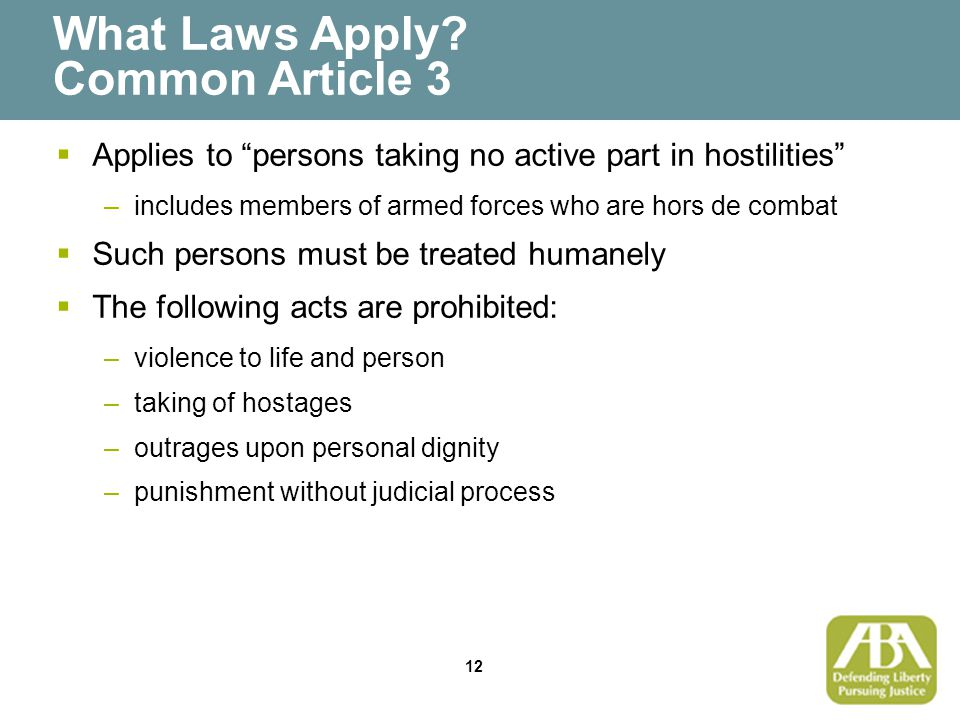 12 What Laws Apply.
