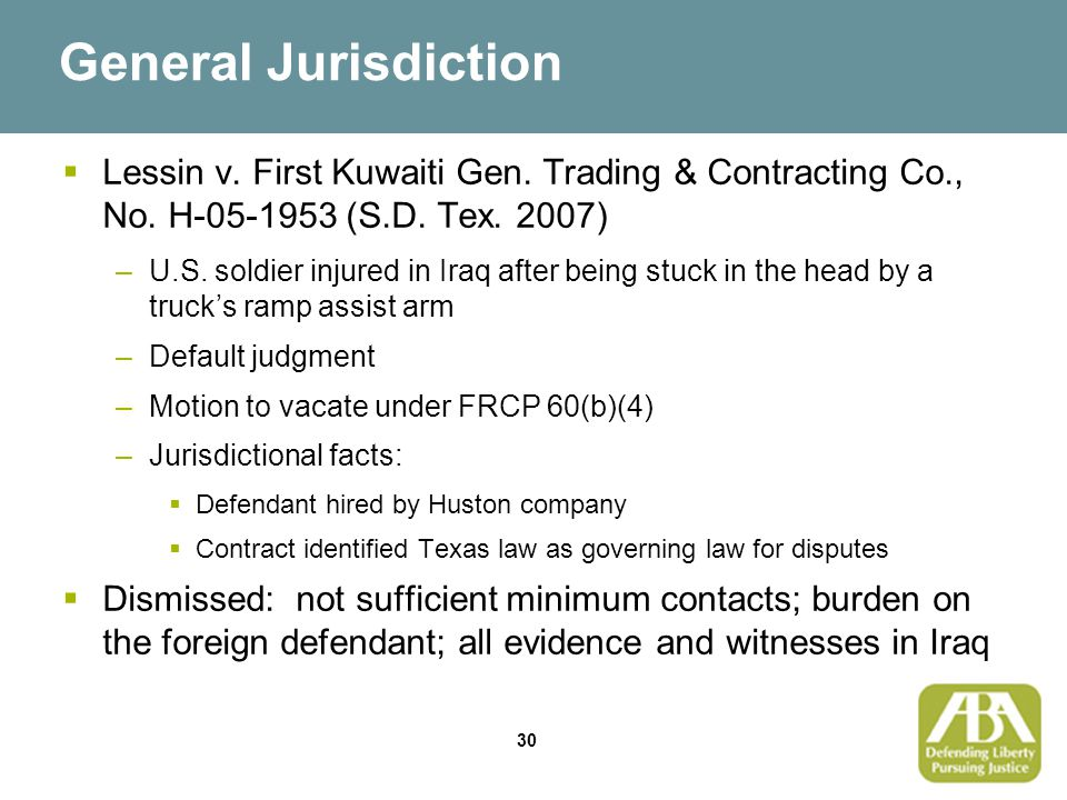 30 General Jurisdiction  Lessin v. First Kuwaiti Gen.
