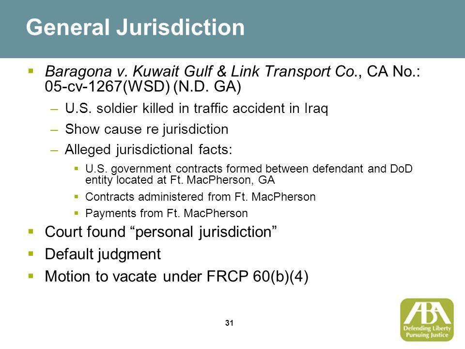 31 General Jurisdiction  Baragona v.