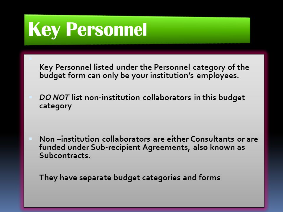  Key Personnel listed under the Personnel category of the budget form can only be your institution's employees.  DO NOT list non-institution collabo
