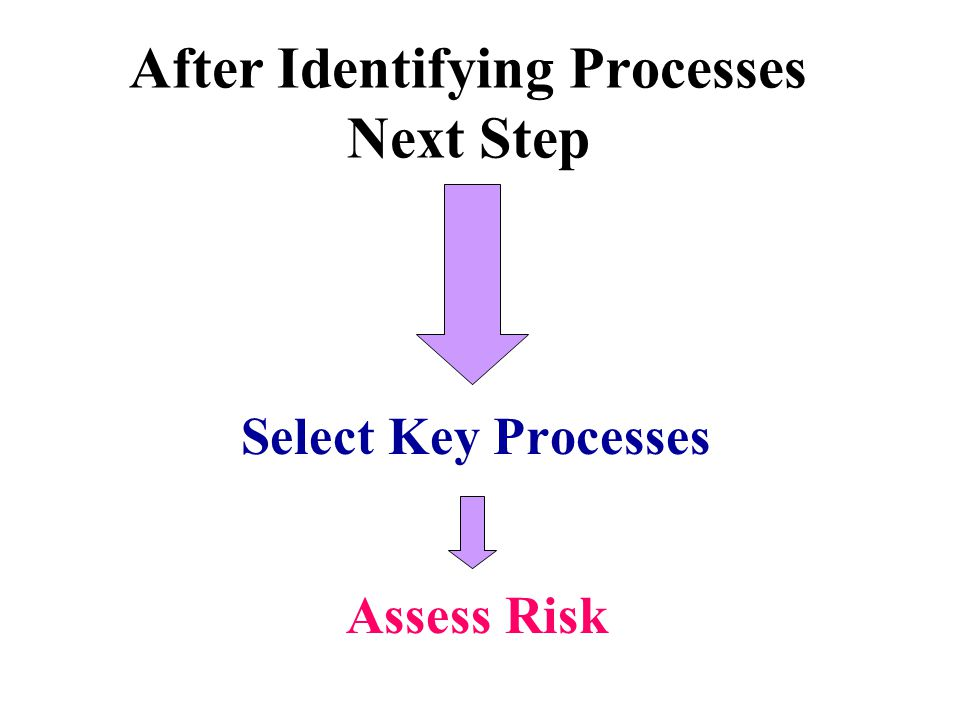 After Identifying Processes Next Step Select Key Processes Assess Risk