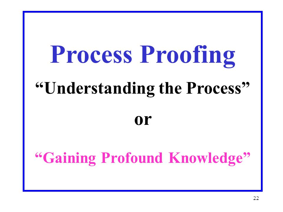 22 Process Proofing Understanding the Process or Gaining Profound Knowledge