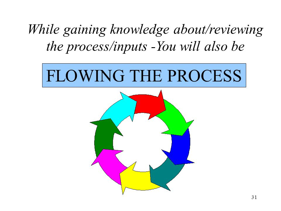 31 FLOWING THE PROCESS While gaining knowledge about/reviewing the process/inputs -You will also be