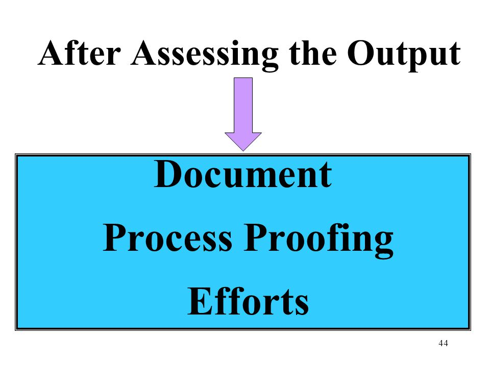 44 After Assessing the Output Document Process Proofing Efforts