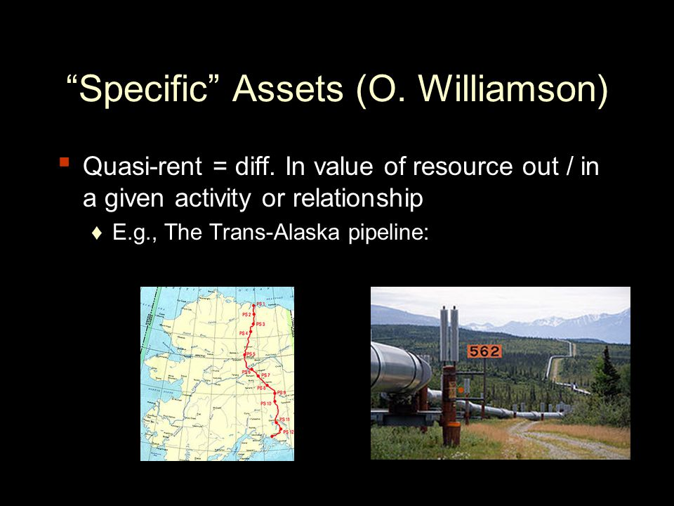 Specific Assets (O. Williamson) ▪ Quasi-rent = diff.