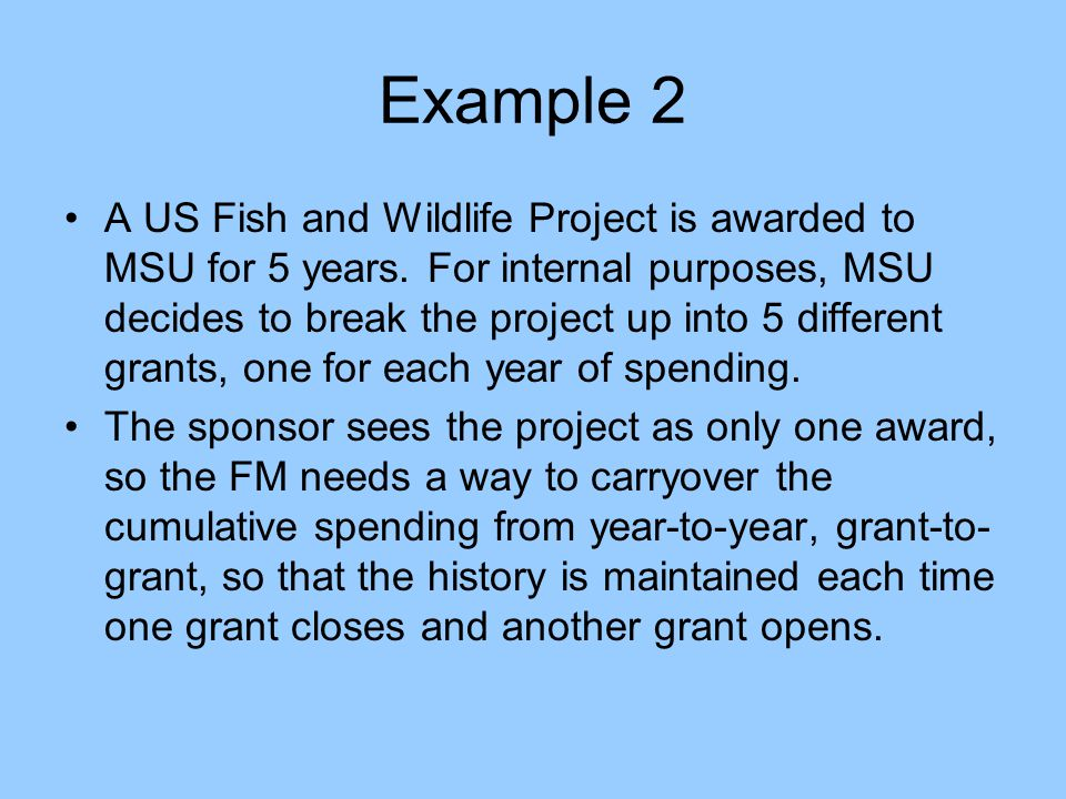 Example 2 A US Fish and Wildlife Project is awarded to MSU for 5 years.