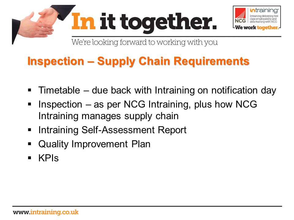 Inspection – Supply Chain Requirements  Timetable – due back with Intraining on notification day  Inspection – as per NCG Intraining, plus how NCG Intraining manages supply chain  Intraining Self-Assessment Report  Quality Improvement Plan  KPIs
