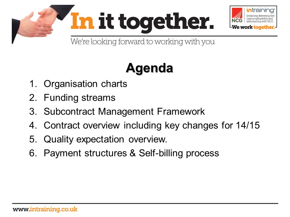 Agenda 1.Organisation charts 2.Funding streams 3.Subcontract Management Framework 4.Contract overview including key changes for 14/15 5.Quality expectation overview.