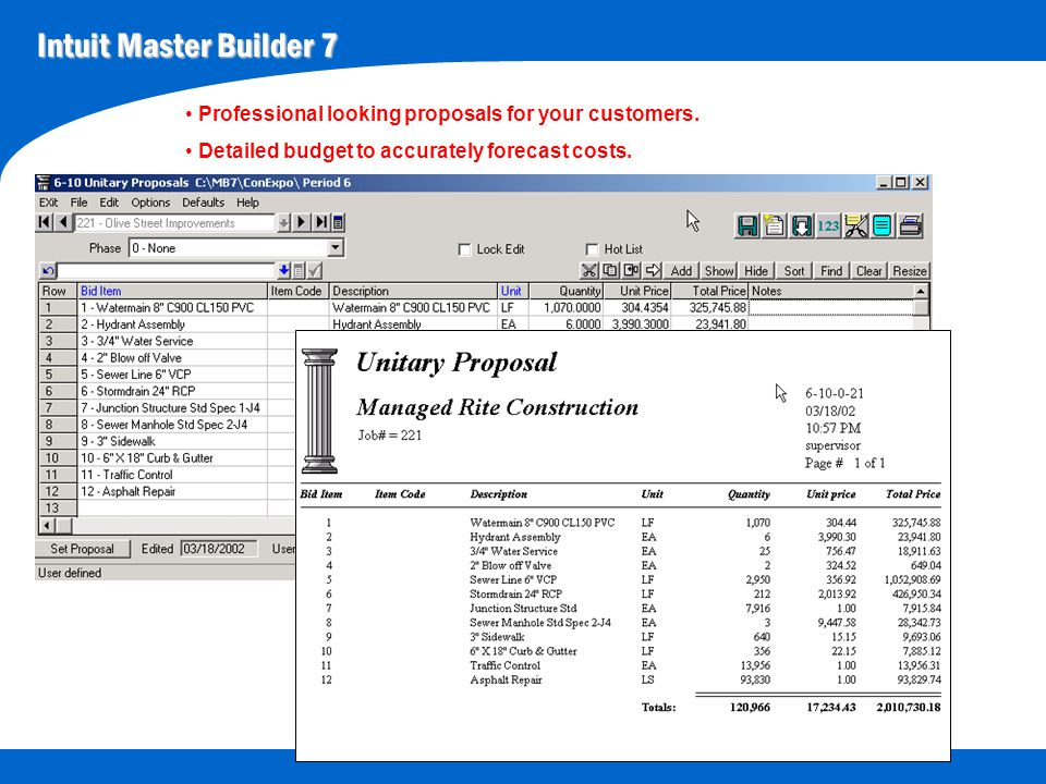 Intuit Master Builder 7 Easy to use CPM scheduling.