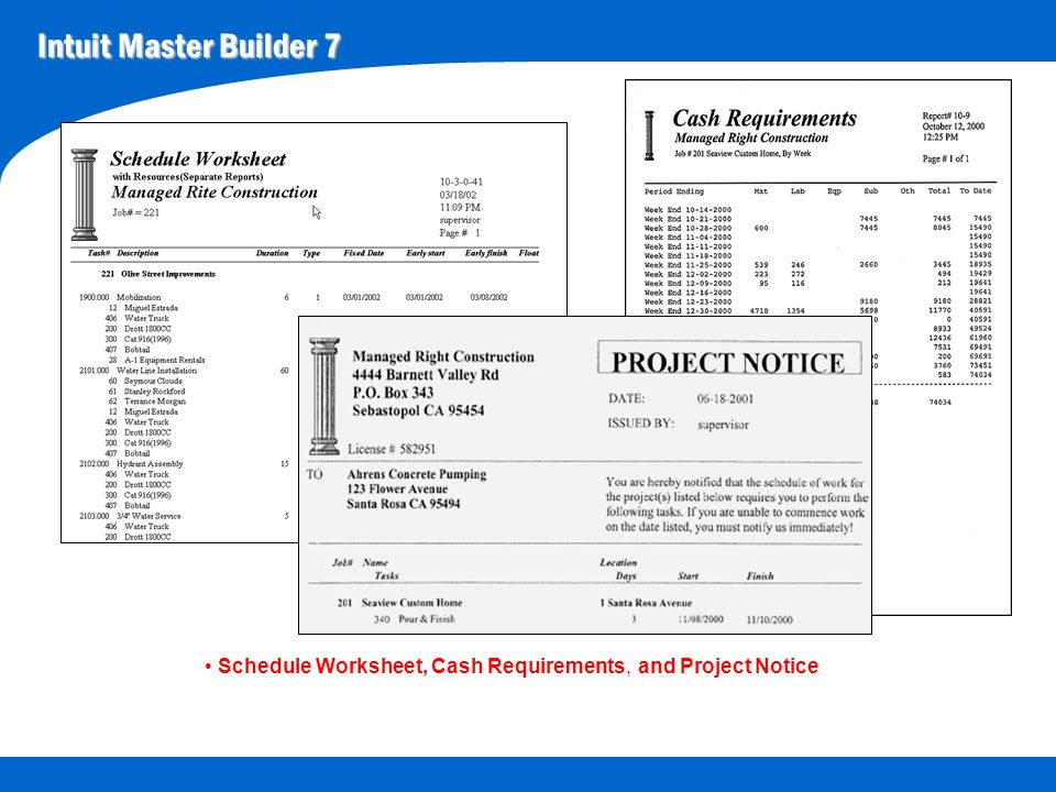 Intuit Master Builder 7 Schedule Worksheet, Cash Requirements, and Project Notice