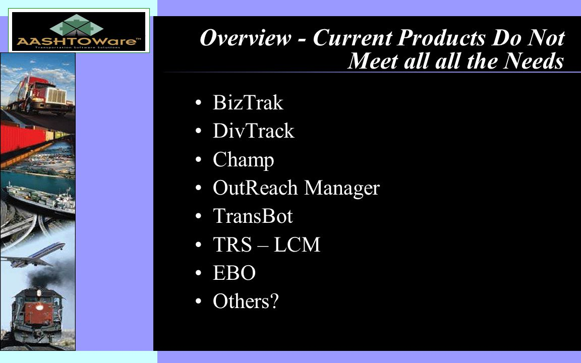 Insert software product logo (or name) on slide master Overview - Current Products Do Not Meet all all the Needs BizTrak DivTrack Champ OutReach Manager TransBot TRS – LCM EBO Others