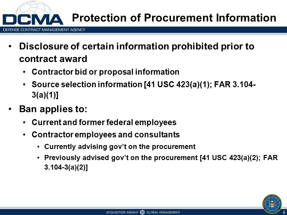 Protection of Procurement Information Disclosure of certain information prohibited prior to contract award Contractor bid or proposal information Sour