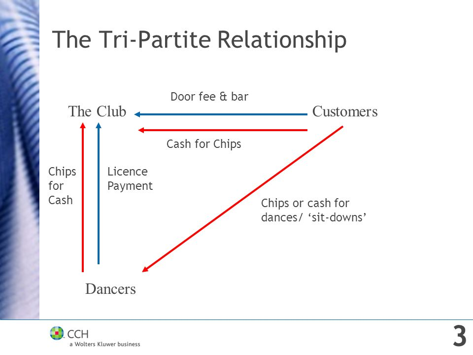 The Tri-Partite Relationship The ClubCustomers Dancers Door fee & bar Cash for Chips Chips or cash for dances/ 'sit-downs' Chips for Cash Licence Payment 3