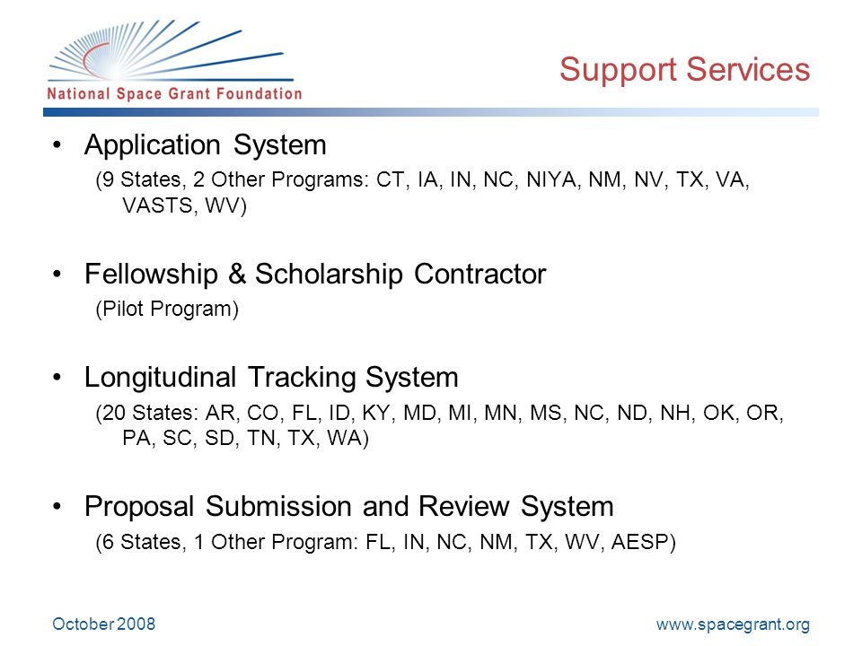www.spacegrant.org October 2008 Support Services Application System (9 States, 2 Other Programs: CT, IA, IN, NC, NIYA, NM, NV, TX, VA, VASTS, WV) Fellowship & Scholarship Contractor (Pilot Program) Longitudinal Tracking System (20 States: AR, CO, FL, ID, KY, MD, MI, MN, MS, NC, ND, NH, OK, OR, PA, SC, SD, TN, TX, WA) Proposal Submission and Review System (6 States, 1 Other Program: FL, IN, NC, NM, TX, WV, AESP)