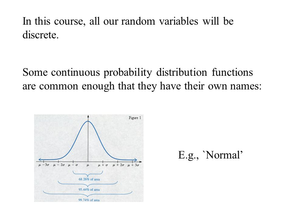 In this course, all our random variables will be discrete.