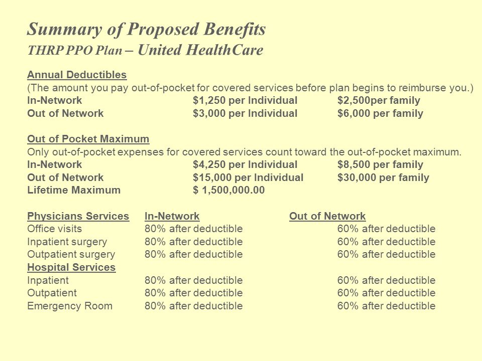 Summary of Proposed Benefits THRP PPO Plan – United HealthCare Annual Deductibles (The amount you pay out-of-pocket for covered services before plan begins to reimburse you.) In-Network$1,250 per Individual$2,500per family Out of Network$3,000 per Individual$6,000 per family Out of Pocket Maximum Only out-of-pocket expenses for covered services count toward the out-of-pocket maximum.