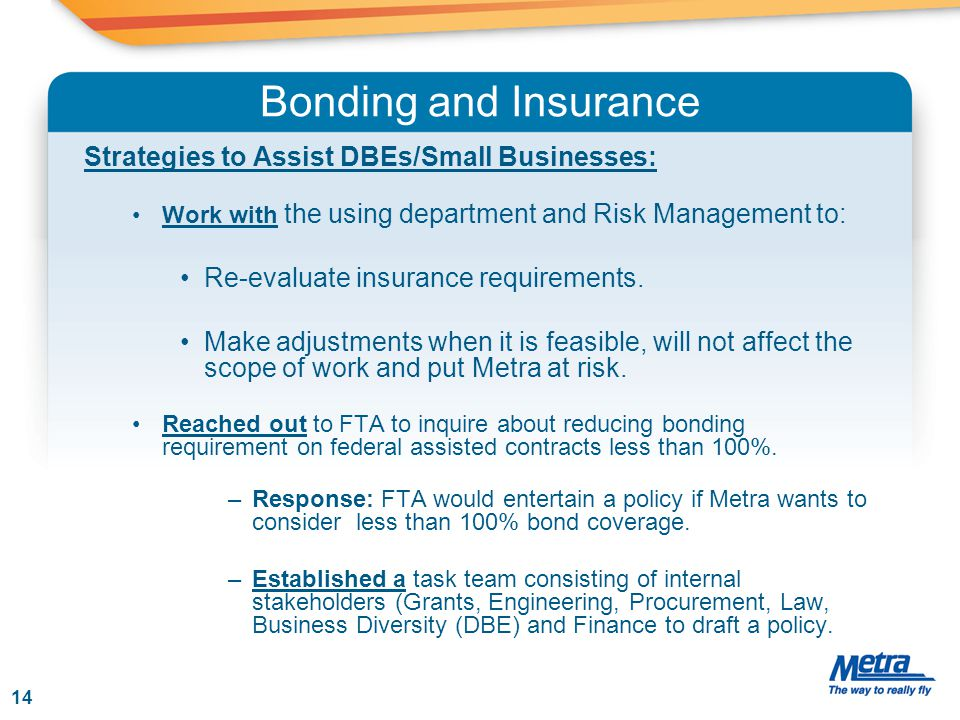 Bonding and Insurance Strategies to Assist DBEs/Small Businesses: Work with the using department and Risk Management to: Re-evaluate insurance require