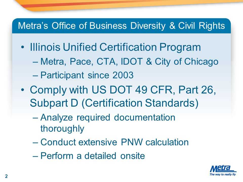 Metra's Office of Business Diversity & Civil Rights Illinois Unified Certification Program –Metra, Pace, CTA, IDOT & City of Chicago –Participant sinc