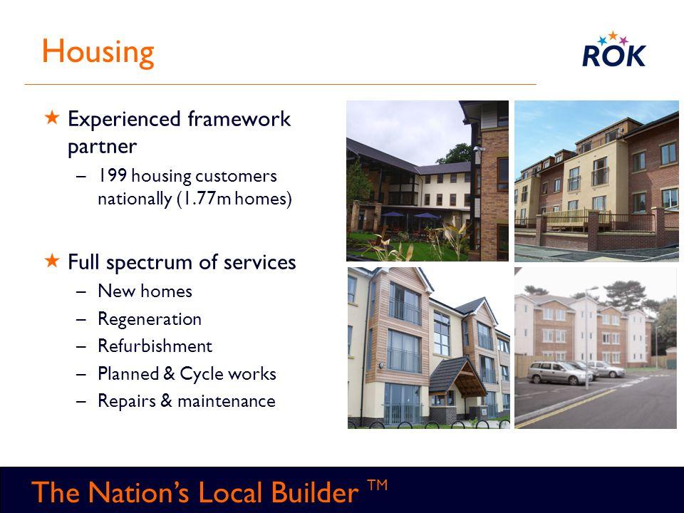 TM The Nation's Local Builder TM Housing  Experienced framework partner –199 housing customers nationally (1.77m homes)  Full spectrum of services –