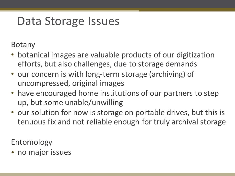 Data Storage Issues Botany botanical images are valuable products of our digitization efforts, but also challenges, due to storage demands our concern is with long-term storage (archiving) of uncompressed, original images have encouraged home institutions of our partners to step up, but some unable/unwilling our solution for now is storage on portable drives, but this is tenuous fix and not reliable enough for truly archival storage Entomology no major issues