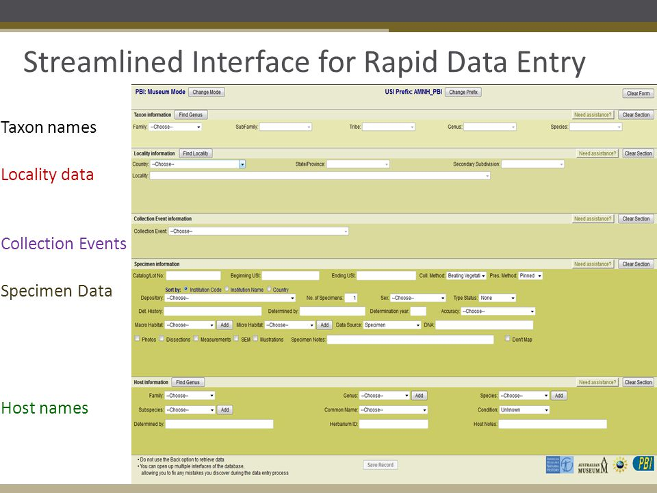 Streamlined Interface for Rapid Data Entry Taxon names Locality data Collection Events Specimen Data Host names