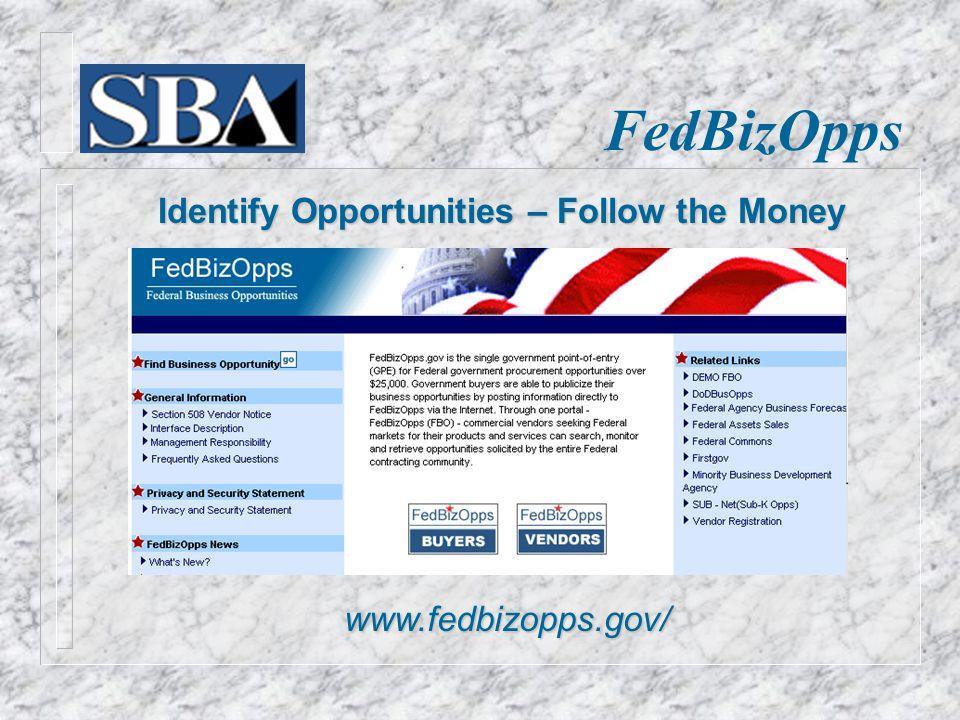 FedBizOpps Identify Opportunities – Follow the Money www.fedbizopps.gov/