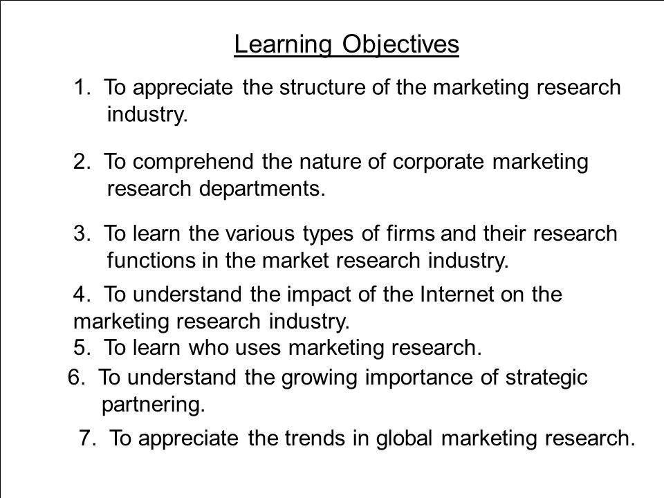 Learning Objectives 2 1. To appreciate the structure of the marketing research industry.