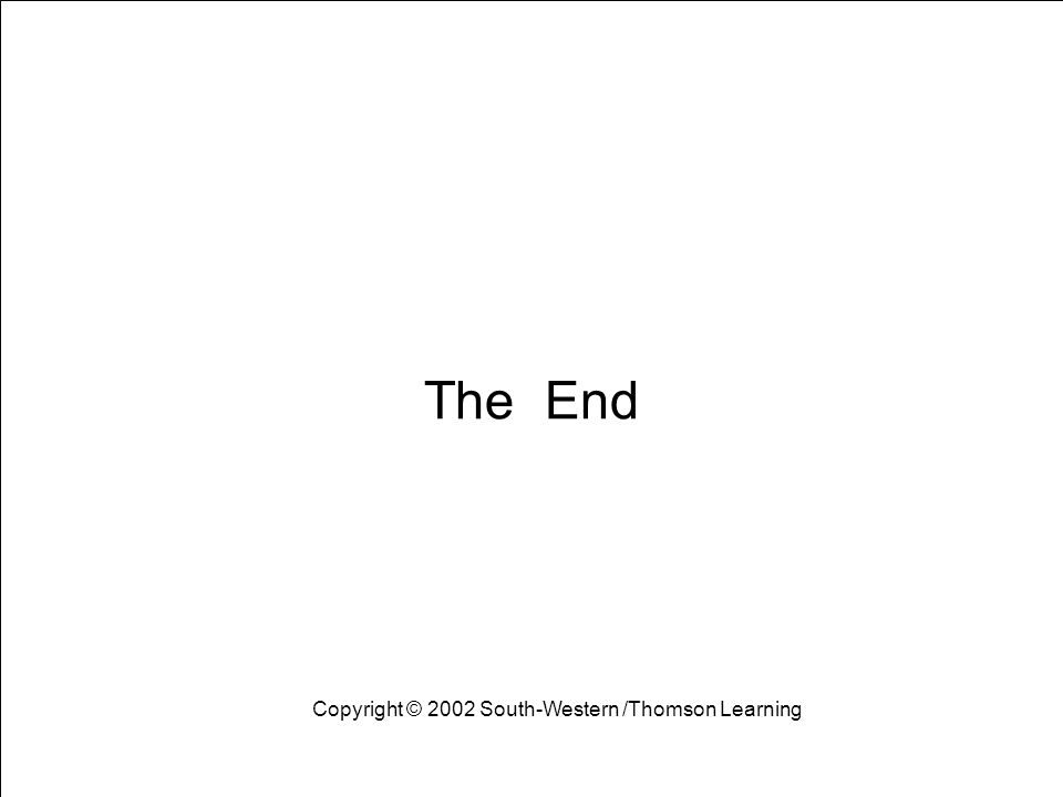 Learning Objectives 21 The End Copyright © 2002 South-Western /Thomson Learning