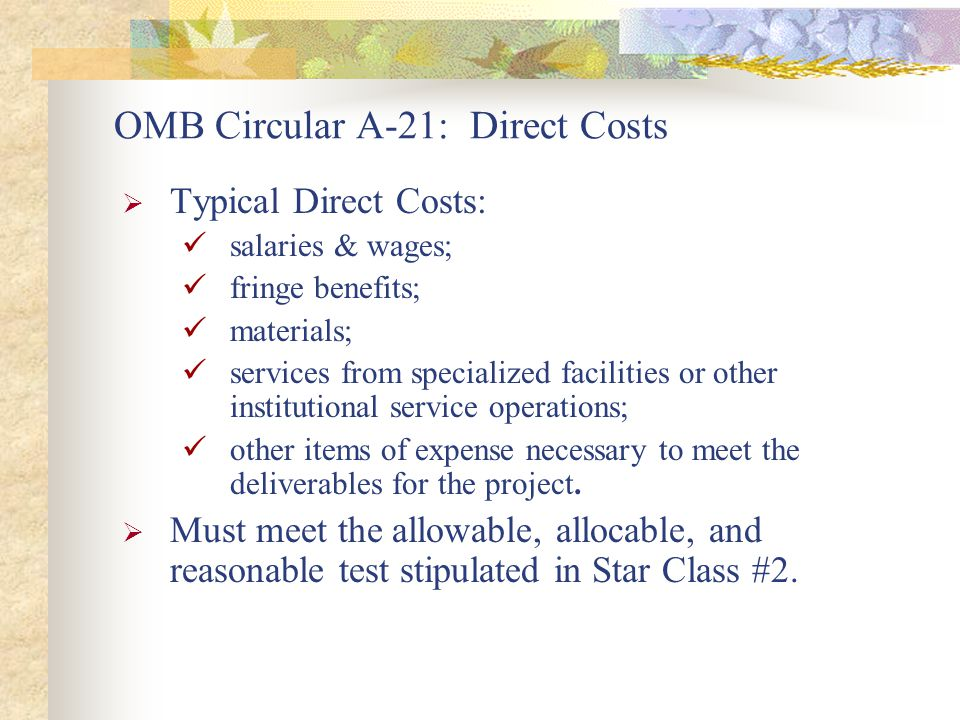  Typical Direct Costs: salaries & wages; fringe benefits; materials; services from specialized facilities or other institutional service operations; other items of expense necessary to meet the deliverables for the project.