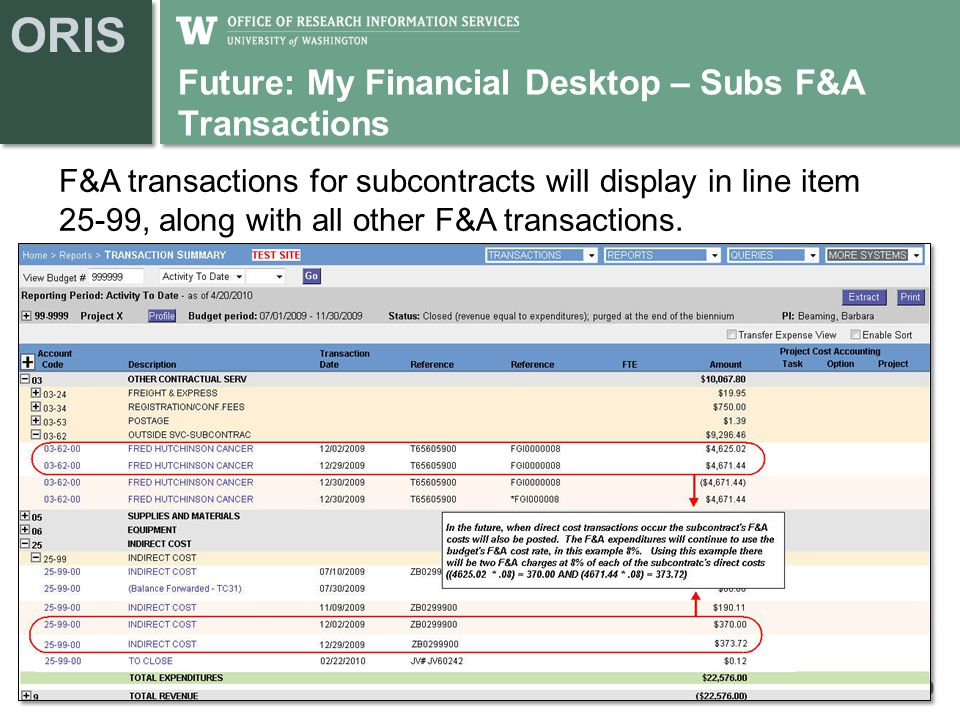 ORIS Future: My Financial Desktop – Subs F&A Transactions 10 F&A transactions for subcontracts will display in line item 25-99, along with all other F&A transactions.