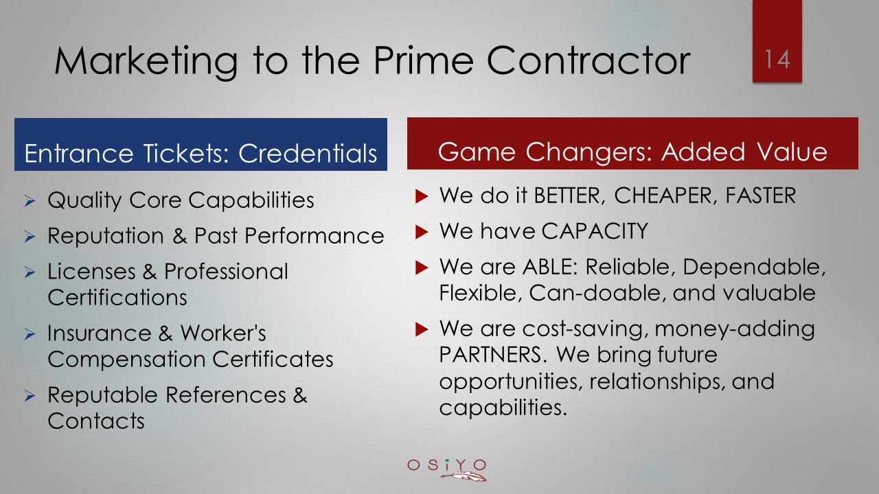 Marketing to the Prime Contractor Entrance Tickets: Credentials  Quality Core Capabilities  Reputation & Past Performance  Licenses & Professional Certifications  Insurance & Worker s Compensation Certificates  Reputable References & Contacts Game Changers: Added Value  We do it BETTER, CHEAPER, FASTER  We have CAPACITY  We are ABLE: Reliable, Dependable, Flexible, Can-doable, and valuable  We are cost-saving, money-adding PARTNERS.