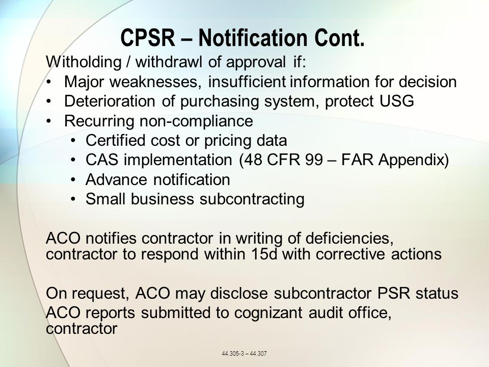 CPSR – Notification Cont.