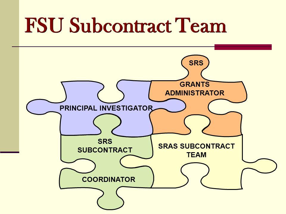 PRINCIPAL INVESTIGATOR GRANTS ADMINISTRATOR SRS SUBCONTRACT COORDINATOR SRAS SUBCONTRACT TEAM SRS FSU Subcontract Team