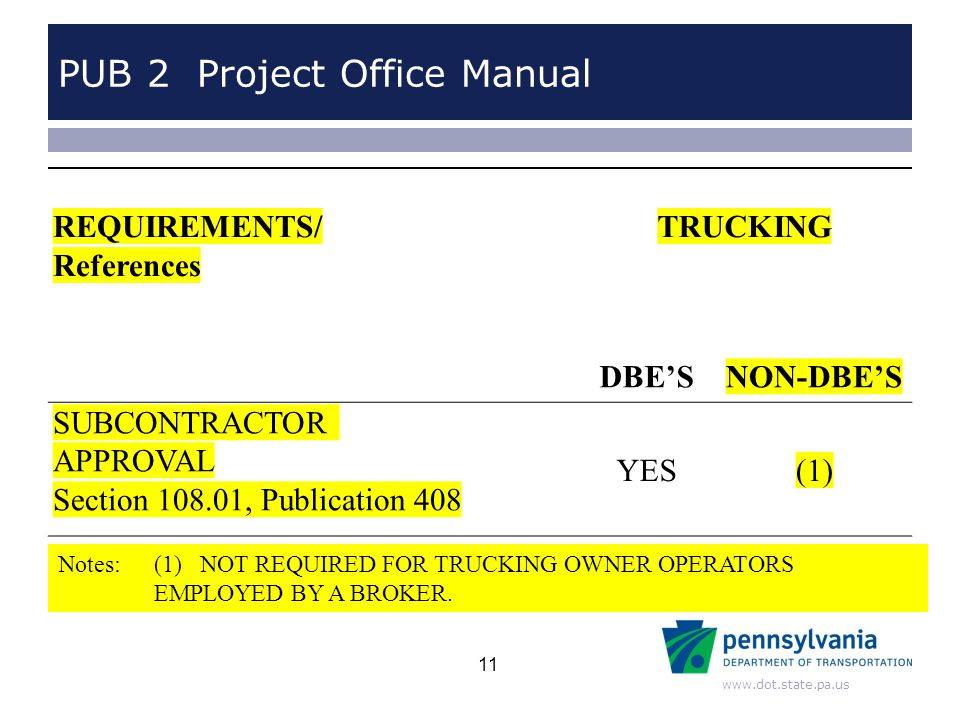 www.dot.state.pa.us PUB 2 Project Office Manual Notes: (1) NOT REQUIRED FOR TRUCKING OWNER OPERATORS EMPLOYED BY A BROKER. REQUIREMENTS/ References TR