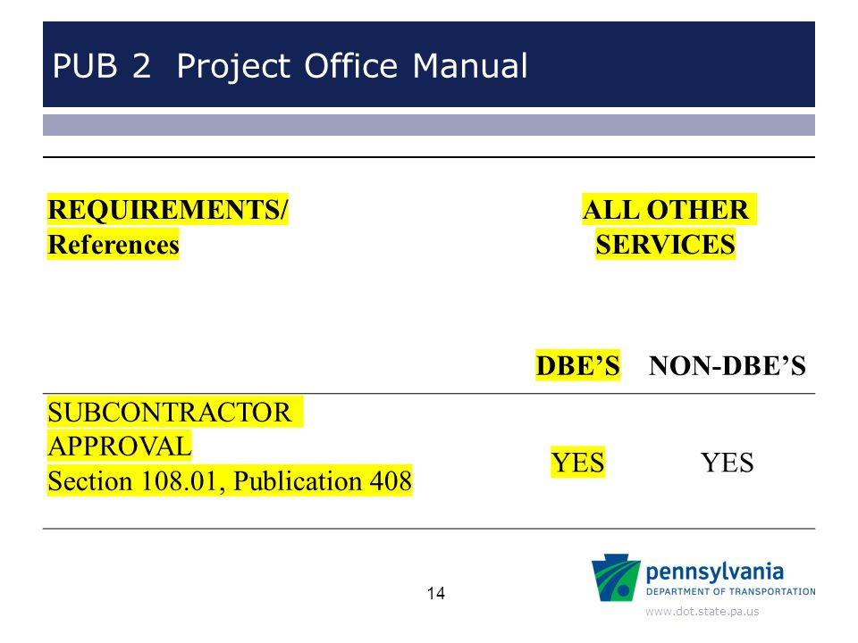 www.dot.state.pa.us PUB 2 Project Office Manual REQUIREMENTS/ References ALL OTHER SERVICES DBE'SNON-DBE'S SUBCONTRACTOR APPROVAL Section 108.01, Publ