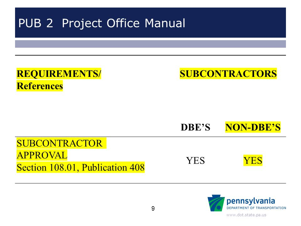www.dot.state.pa.us PUB 2 Project Office Manual REQUIREMENTS/ References SUBCONTRACTORS DBE'SNON-DBE'S SUBCONTRACTOR APPROVAL Section 108.01, Publication 408 YES 9