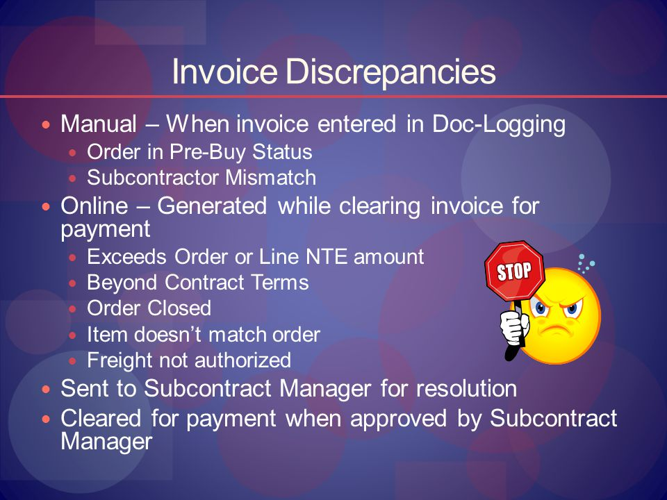 Invoice Discrepancies Manual – When invoice entered in Doc-Logging Order in Pre-Buy Status Subcontractor Mismatch Online – Generated while clearing in