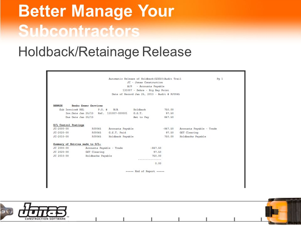 Better Manage Your Subcontractors Holdback/Retainage Release