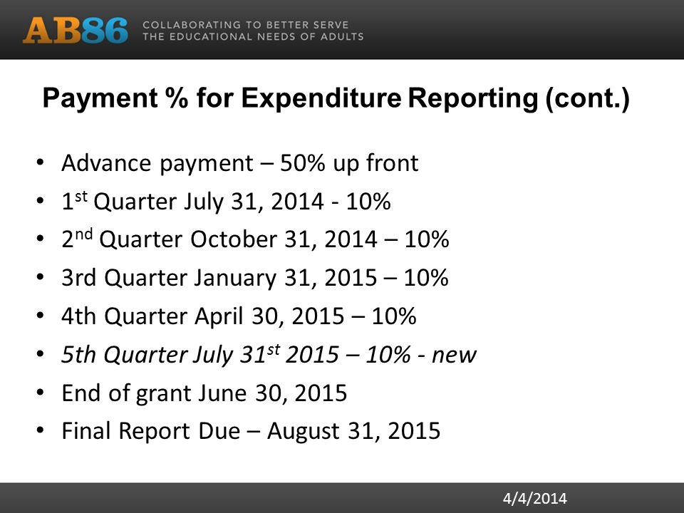 Payment % for Expenditure Reporting (cont.) Advance payment – 50% up front 1 st Quarter July 31, 2014 - 10% 2 nd Quarter October 31, 2014 – 10% 3rd Quarter January 31, 2015 – 10% 4th Quarter April 30, 2015 – 10% 5th Quarter July 31 st 2015 – 10% - new End of grant June 30, 2015 Final Report Due – August 31, 2015 4/4/2014