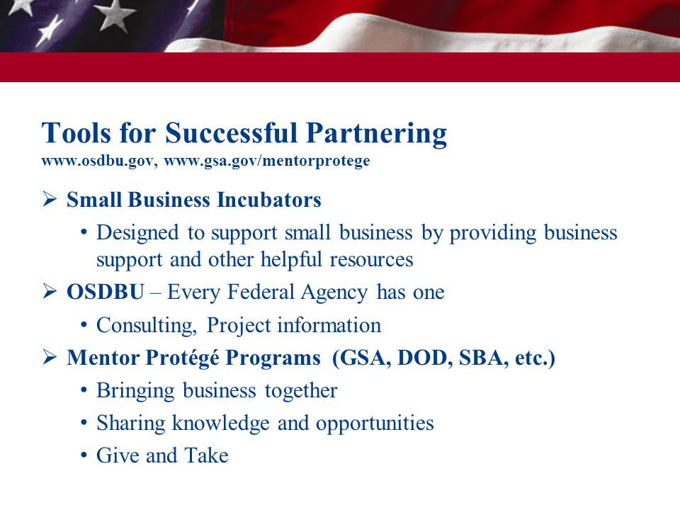 Tools for Successful Partnering www.osdbu.gov, www.gsa.gov/mentorprotege  Small Business Incubators Designed to support small business by providing b